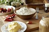 Ingredients for rhubarb crumble
