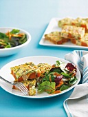Frittata with sweet potatoes and salmon