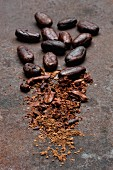 Peeled whole cocoa beans, broken pieces and cocoa on a rusty surface