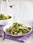 Rice with green vegetables and tuna