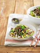 Strips of beef with rice noodles and vegetables