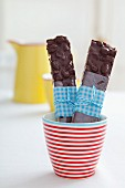 Home-made chocolate and nut bars in a cup