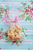 Home-made fudge in a cellophane bag