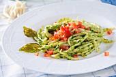 Trofie pasta with pesto and tomatoes