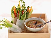 Spring rolls with asparagus and cress, with chilli dip (Asia)