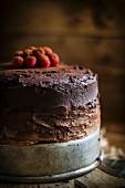 Whole Chocolate Cake with Raspberries