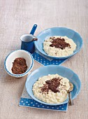 Rice pudding with melted chocolate