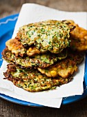 Vegetable fritters with sweetcorn and courgette