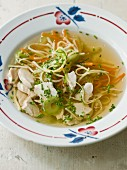 Chicken soup with vegetables and vermicelli