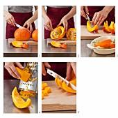 Hokkaido squash being prepared