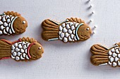 Fish-shaped Lebkuchen (spiced soft gingerbread from Germany)