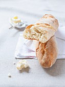 Baguette on linen cloths