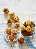 Pistachio, coconut & cranberry muffins, caramel & ginger muffins and beetroot, cardamom & white chocolate muffins