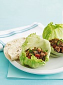 Lettuce leaves filled with minced lamb and chickpeas
