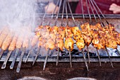 Barbecued skewers of meat at a market in North Africa