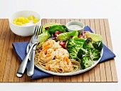 Shrimp Scampi with Broccoli and Salad