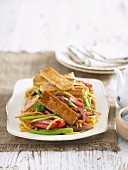 Pasta with glazed tofu and vegetables