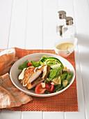 Summer salad with breaded chicken escalope