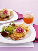 Chicken burger with beetroot dressing
