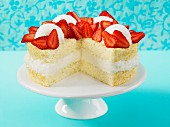 Angel Food Cake with almonds and strawberries