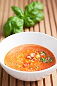 Cold melon & pepper soup with basil