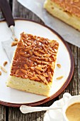 A piece of bee sting cake (Bienenstich)