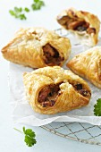 Savoury filled puff pastry parcels