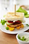 Club sandwich with a meat patty