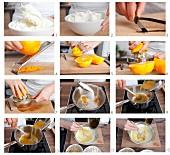 Cake mix for castagnaccio (chestnut cake, Tuscany, Italy) being prepared