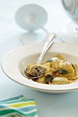 Ravioli with olive and minced meat filling