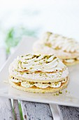 Cream slices with pistachios