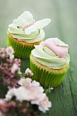 Cupcakes mit grünem Icing