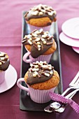 Cupcake with chocolate topping and chocolate curls