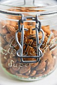 Lots of almonds in a storage jar