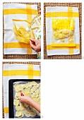 Potato crisps being prepared on a baking tray