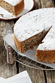 Fig cake dusted with icing sugar