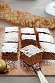 Lebkuchen (spiced soft gingerbread) cooked on a tray