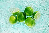 Limes in sparkling water
