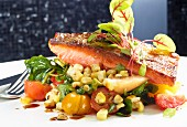 Salmon fillet with a side of vegetables