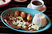 Cuban Palomilla Steak with Onions, Rice and Plantains