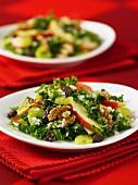 Waldorf salad with kale, apple and walnuts