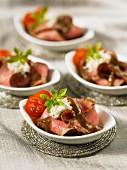 Sliced steak with horseradish & Roquefort sauce