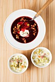 Pea stew and beetroot soup