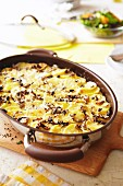 Potato bake with onions and bacon
