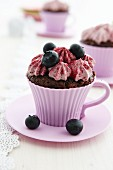 Blueberry cupcake in a cup