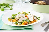 Chicken breast with carrots and herb paste