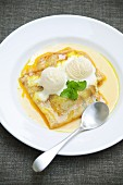 Crepes Suzette with vanilla ice cream