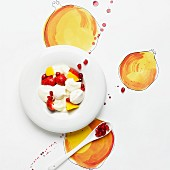 Fresh fruit with meringue and whipped cream