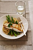 Grilled Fish - Blanched Asparagus, Linguini, Parsley