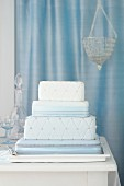 Silver Blue Cushion Cake